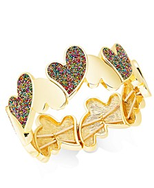 INC Gold-Tone Multi-Bead Heart Stretch Bracelet, Created For Macy's