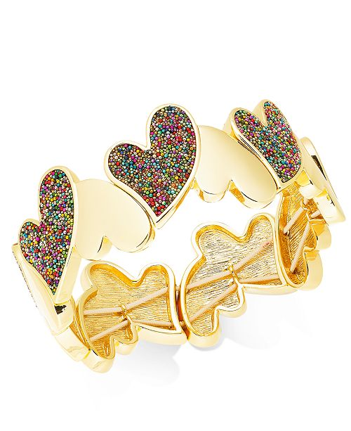 INC International Concepts INC Gold-Tone Multi-Bead Heart Stretch Bracelet, Created For Macy's