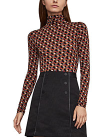 BCBGMAXAZRIA Geo-Print Turtleneck Top