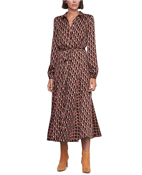 BCBGMAXAZRIA Geo-Print Shirtdress