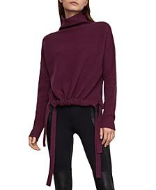 Cropped Side-Tie Mock-Neck Sweater