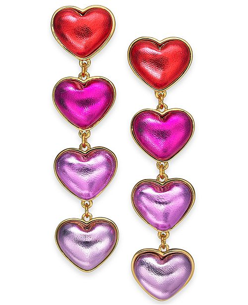INC International Concepts INC Multi-Tone Heart Linear Drop Earrings, Created For Macy's