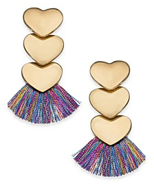 INC Gold-Tone Heart Fringe Drop Earrings, Created For Macy's