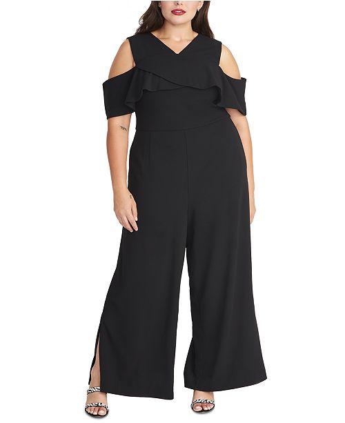 RACHEL Rachel Roy Plus Size Crisscross Ruffle Jumpsuit