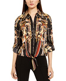 INC Petite Scarf-Print Tie-Front Top, Created For Macy's