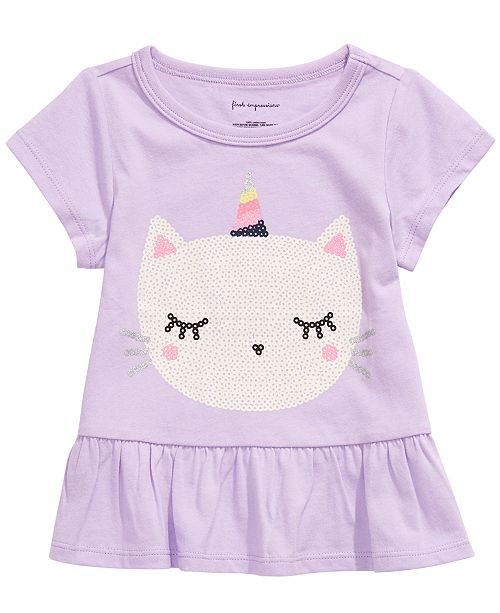 First Impressions Baby Girls Caticorn-Print Cotton T-Shirt, Created For Macy's