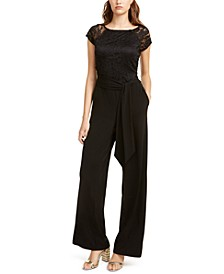 Juniors' Lace-Trimmed Wide-Leg Jumpsuit