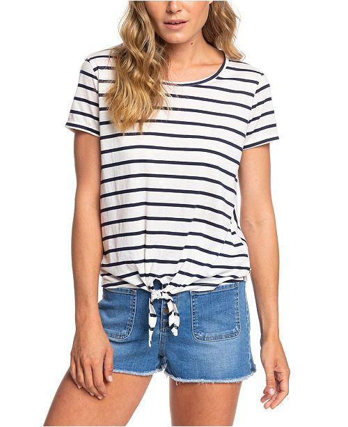 Roxy Striped Tie-Front Top