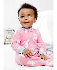 Baby Girls 1-Pc. Footed Fleece Mouse Pajama