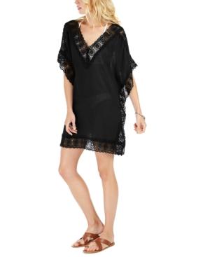 La Blanca Cotton Island Fare Crochet-trim Tunic Cover-up Women's Swimsuit In Black