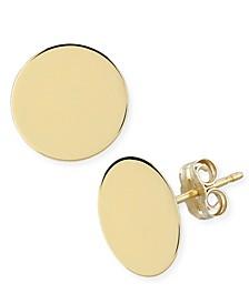 Flat Disc Stud Earrings in 14k Gold (13mm)