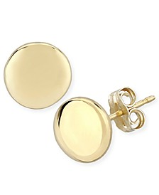 Flat Round Stud Earrings Set in 14k Yellow Gold (8mm)