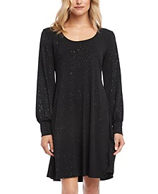 Glitter Blouson-Sleeve A-Line Dress