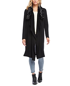 Faux-Fur-Collar Duster Cardigan