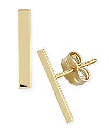 Flat Bar Stud Earrings Set in 14k Yellow or Rose Gold