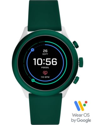 Fossil Men's Sport HR Green Silicone Strap Touchscreen Smart Watch 43mm, Powered by Wear OS by Google™