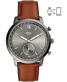 Men's Neutra Brown Leather Strap Hybrid Smart Watch 44mm