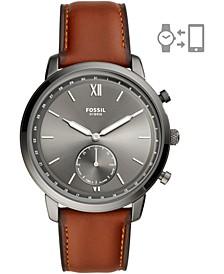 Men's Neutra Brown Leather Strap Hybrid Smart Watch 44mm