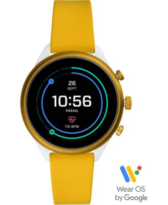Fossil Unisex Sport HR Yellow Silicone Strap Touchscreen Smart Watch 41mm, Powered by Wear OS by Google™