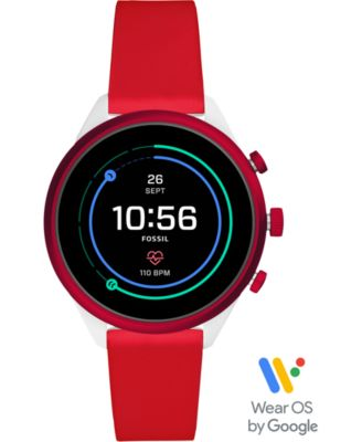 Fossil Unisex Sport HR Red Silicone Strap Touchscreen Smart Watch 41mm, Powered by Wear OS by Google™