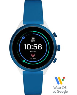 Fossil Unisex Sport HR Blue Silicone Strap Touchscreen Smart Watch 41mm, Powered by Wear OS by Google™