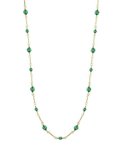 Downton Abbey 14K Gold-Dipped Green Beads Chain Necklace