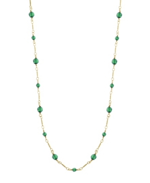 14K Gold-Dipped Green Beads Chain Necklace