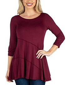 Three Quarter Sleeve Flared Tunic Top