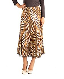 Midi Length Brown Animal Print A-Line Skirt