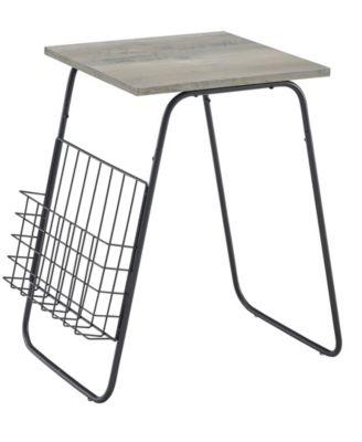 Walker Edison Modern Side Table with Magazine Holder
