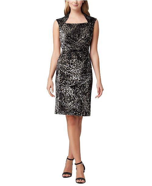 Tahari ASL Animal Velvet Sheath Dress