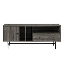 Modern TV Console with Record Storage