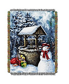 Snowman Wishing Well Tapestry Throw