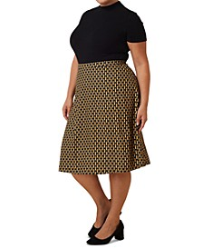 Plus Size Geometric Print Sweater Skirt