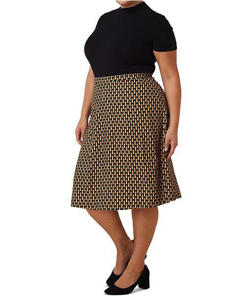 Maree Pour Toi Plus Size Geometric Print Sweater Skirt