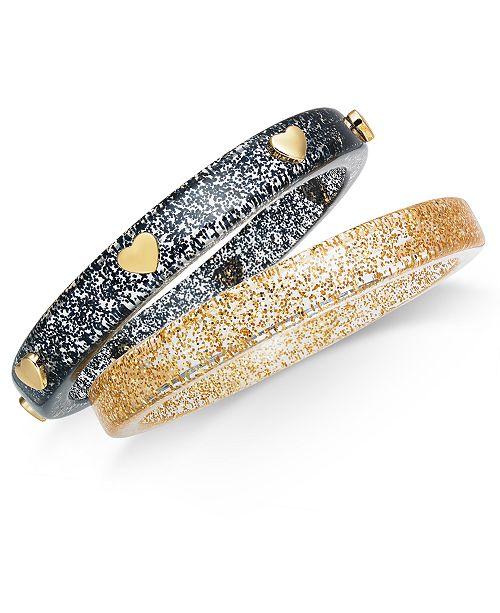 INC International Concepts INC Gold-Tone 2-Pc. Set Heart & Glitter Resin Bangle Bracelets, Created For Macy's