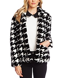 Faux-Fur Houndstooth-Print Jacket