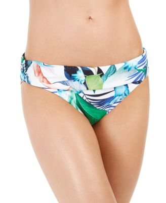 In The Moment Ruched-Waist Hipster Bikini Bottoms