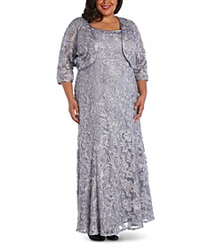 Plus Size Soutache Gown & Jacket
