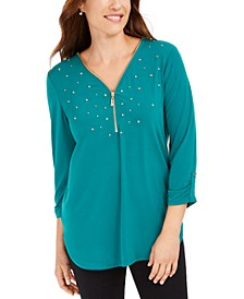 Petite Embellished Zipper-Trim Top, Created for Macys