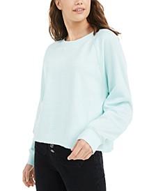 Juniors' Cropped Raw-Edged Sweatshirt