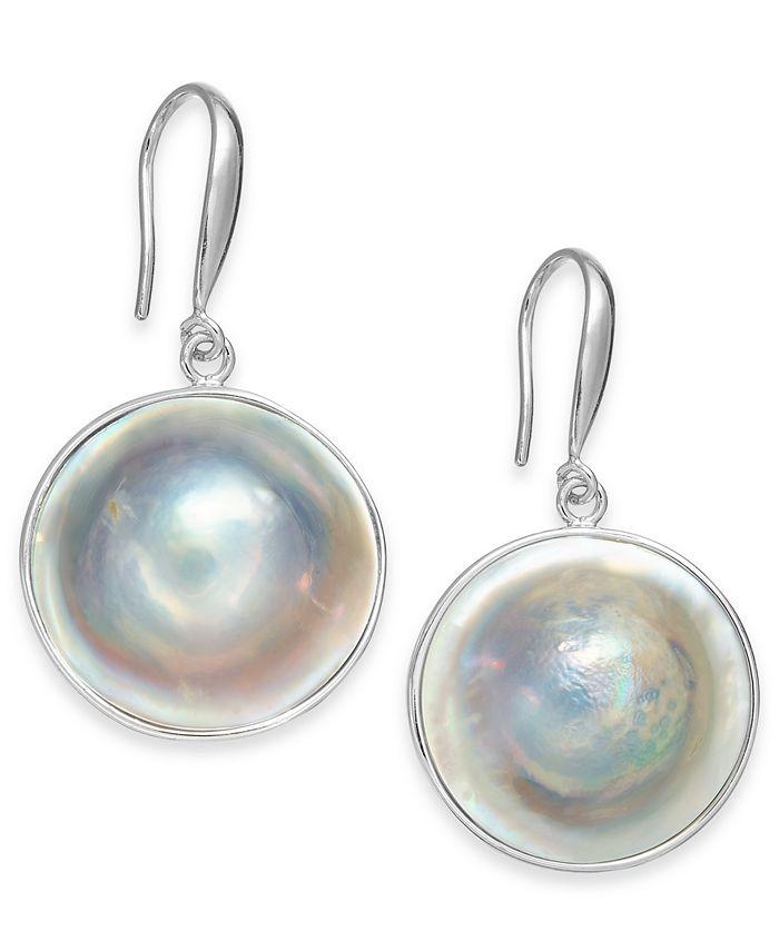 Macy's - Cultured Blister Pearl (18mm) Drop Earrings in Sterling Silver