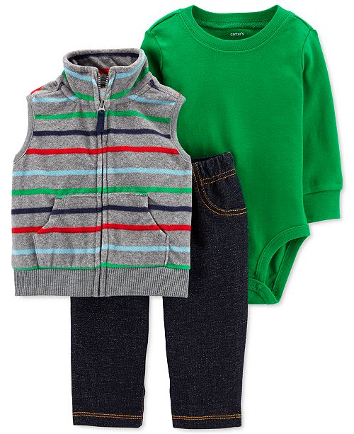 Carter's Baby Boys 3-Pc. Striped Vest, Bodysuit & Pants Set