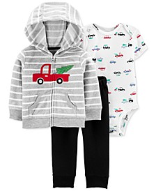 Baby Boys 3-Pc. Striped Hoodie, Car-Print Bodysuit & Pants Set