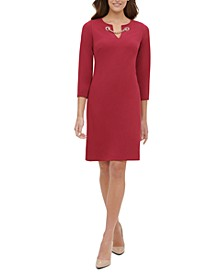 Grommet-Neck Shift Dress