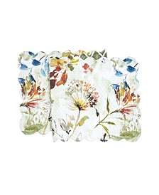 "C F Home Watercolor Floral Quilted Runner, 14""X 51"""