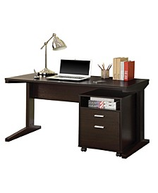 Petersburg 2-Piece Writing Desk Set with Rolling File Cabinet