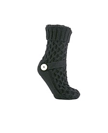 Women's Argon Oil Infused Slipper Socks with Sweater Buckle