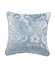 "Cut Velvet Fretwork Patterned Accent Pillow 18"" x 18"""