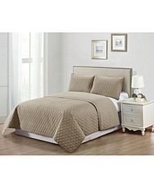 Casual Living Solid Color Tile Stitch 3 Piece Quilt Set, Queen